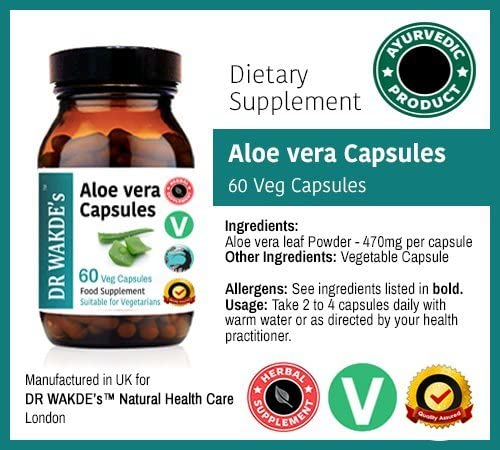 DR WAKDE S Aloe Vera Capsules 60 Veg Caps Ayurvedic Supplement Vegan 100 Herbal Quantity Discounts Free Shipping on Multiples Same Day Dispatch
