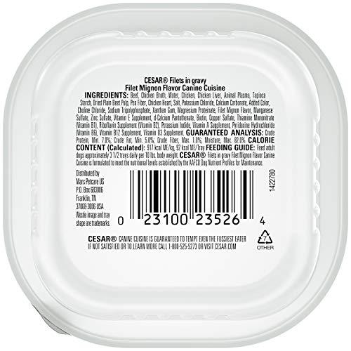 Cesar Gourmet Filets Wet Dog Food Filet Mignon Flavor, (Pack Of 24) 3.5-Oz Trays