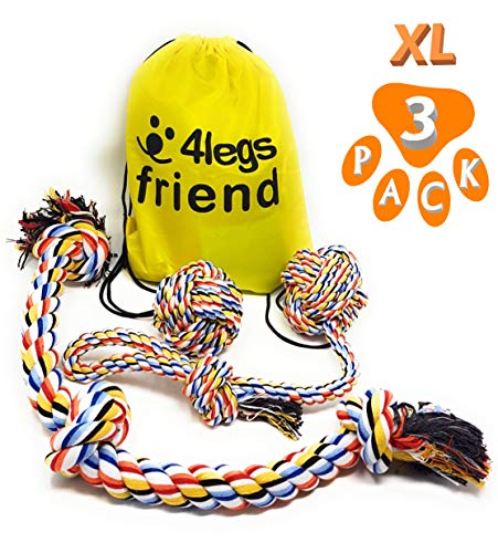 4LegsFriend Dog Rope Tug of War Toys for Aggressive Chewers - 3 Pack for Large and XL Dogs or Puppies Who Love to Play Rough. Strongest, Colorful Washable Cotton Tough Chewing Toys + Bag