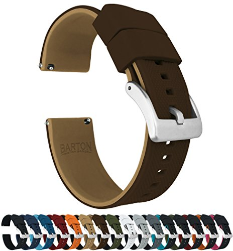 Barton Elite Silicone Watch Bands - Quick Release - Choose Strap Color & Width - Brown/Khaki 22mm Brown Rubber Strap Watch