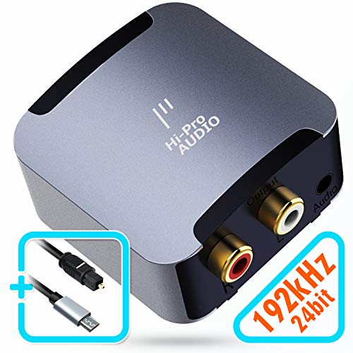 HiProAUDIO Digital to Analog Audio Converter-192kHz/24bit Optical to RCA . Converter with PCM, 5.1 Dolby Digital & DTS Support .Digital SPDIF Toslink to Stereo L/R and 3.5mm AUX jack DAC Converter