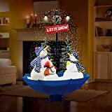 "Fraser Hill Farm 67"" Musical Snowman Family Scene with Blue Umbrella Base and Snow Function Christmas Decoration"