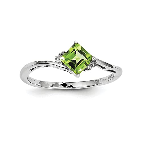 Sterling Silver Rhodium Plated Diamond Peridot Square Ring Color H-I, Clarity SI2-I1