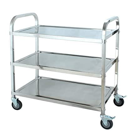 7125acae82b7 Amazon.com - 3-Tier Stainless Steel Rolling Cart Multifunction ...