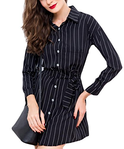 Mini Shirt Tie Women's Domple Striped Sleeve Long Casual Pocket Black Dress Buttons Bn6Tq
