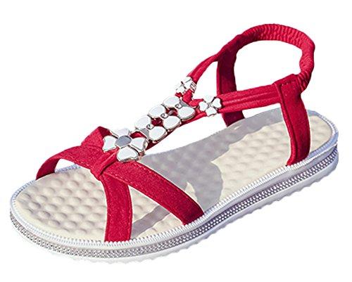 Scothen Las mujeres de las sandalias romanas Sandalias Sandalias de cuña tirón del verano zapatos planos del estilo de Bohemia diamantes de imitación Roman del tobillo Trenzado T-Correa sandalias Red