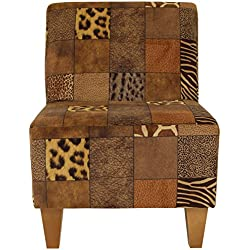 Parker Lane uch-amanda-pon3 Armless Slipper Chair, Safari Patchwork Print