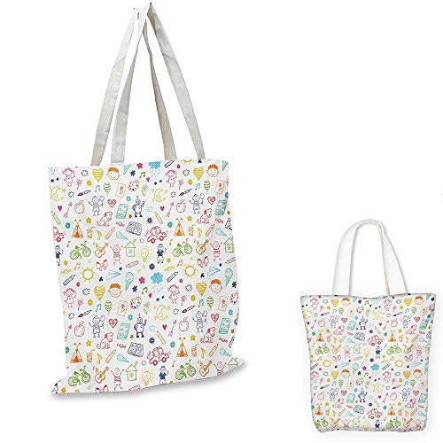 Doodle portable shopping bag Childlike Drawing of Children Sun Ethnic Tent Various Other Child Friendly Things shopping bag for women Multicolor. 13
