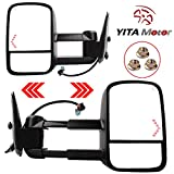 YITAMOTOR 62075-76G for 03-07 Chevrolet/GMC/Cadillac Driver/Passenger Side Replacement Power Heated Towing Mirrors Set with Turn Signal and Dual Glass