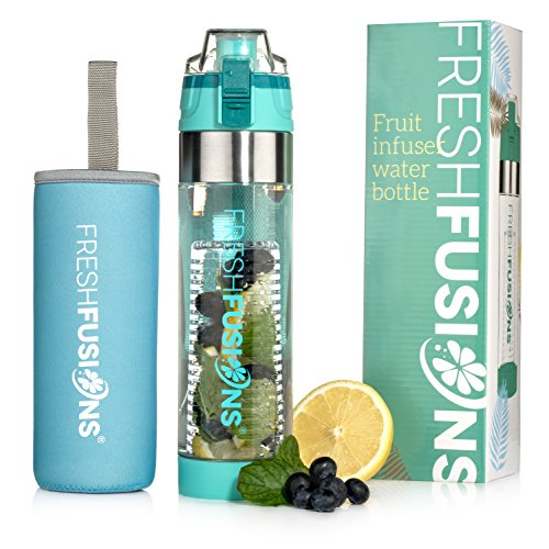 Fresh Fusions Fruit Infuser Water Bottle 24 oz - with Insulated Sleeve + Healthy Recipe Ebook - Includes 25 Infused Water Recipes (Teal, 24 oz)