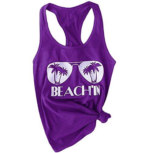 HGWXX7 Women's Summer Casual Plus Size Sleeveless Beach Blouses Shirt Tank Tops (XXL, Purple)