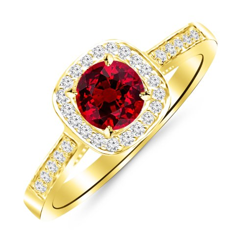 2.23 Carat 14K Yellow Gold Classic Square Halo Single Row Pave Set Diamond Engaement Ring with a 2 Carat Natural Ruby Center (Heirloom Quality) 2 Ct Ruby Ring