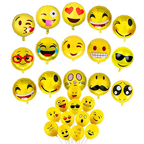 (25 Pack)Assorted Emoji Mylar Balloons Emoji Latex Balloons Smiley Face Helium Balloons for Birthday Wedding Carnival Festival Graduation Celebration Party Supplies