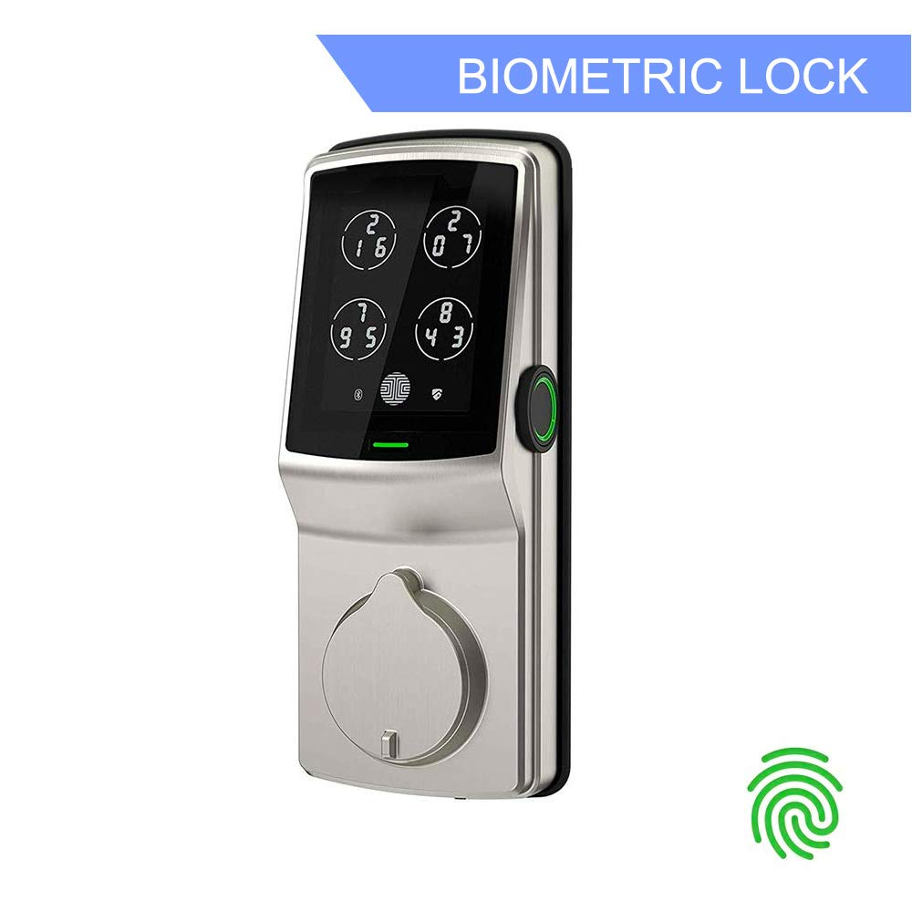 Lockly Bluetooth Keyless Entry Smart Door Lock (PGD728F SN) Patented Keypad Deadbolt Lock | Advanced 3D Fingerprint Reader | iOS and Android Compatible (SatinNickel) by PIN Genie