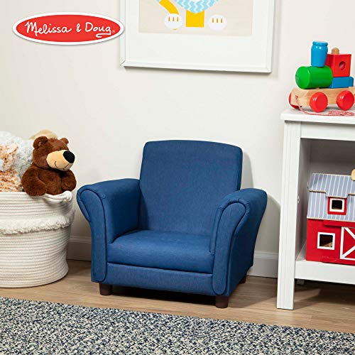 "Melissa & Doug Child's Armchair, Denim Children's Furniture (Sturdy Construction, Multiple Colors, 18.3"" H x 17.5"" W x 23"" L)"