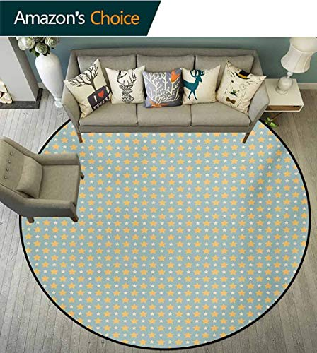 - Yellow and Blue Modern Machine Washable Round Bath Mat,Big and Small Stars in Symmetrical Retro Non-Slip Living Room Soft Floor Mat,Diameter-35 Inch Almond Green Apricot Mustard