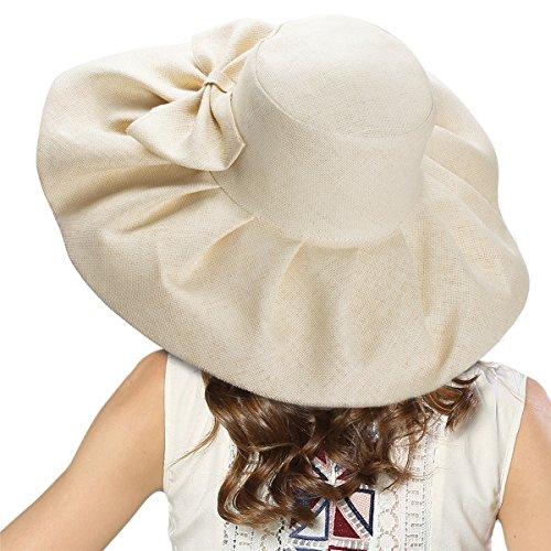 (Linen Summer Womens Kentucky Derby Wide Brim Sun Hat Wedding Church Sea Beach A047 (Natural))