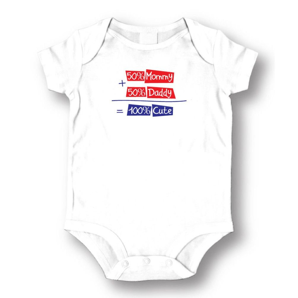 Dustin clothing series 50% Mummy 50% Daddy 100% Cute Baby Boys Girls Toddlers Funny Romper 0-24M by Dustin clothing series (Image #1)