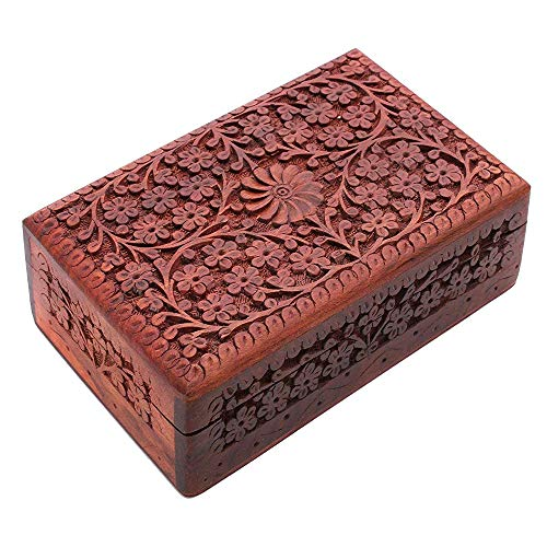 Artisans Of India Exotic Hand Carved Wooden Jewelry Trinket Box 8 x 5 Inches Keepsake Storage Organizer with Floral Patterns