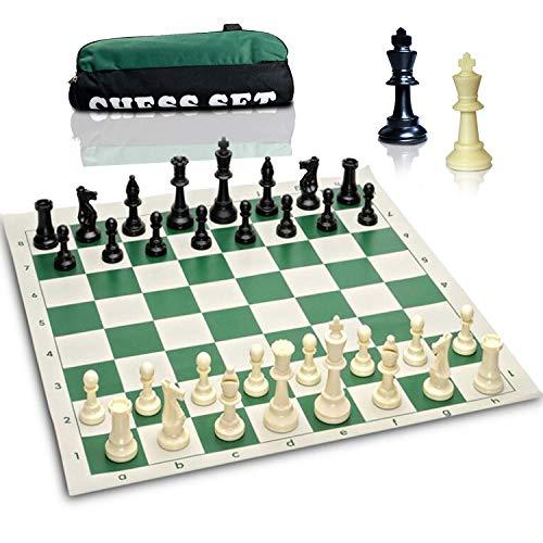 [해외]최고의 가치 토너먼트 체스 세트-삼중가 중 체스 세트 콤보 체스 조각과 그린 롤업 체스 보드 / Best Value Tournament Chess Set - Triple Weighted Chess Set Combo - Filled Chess Pieces and Green Roll-Up Chess Board