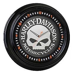 HARLEY-DAVIDSON Classic Willie G Skull White Neon Clock, 18 inch HDL-16639