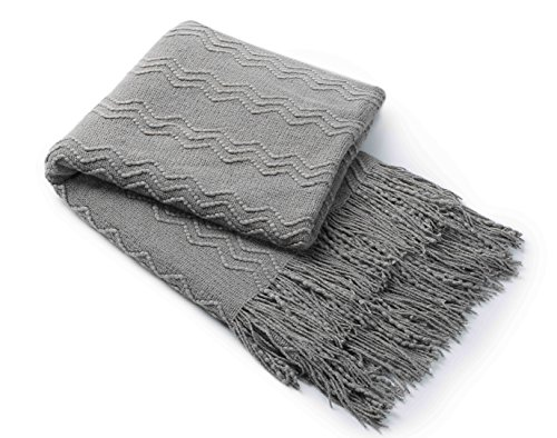 Bourina Knitted Textured Solid Soft Throw Couch Cover Blanket, 50