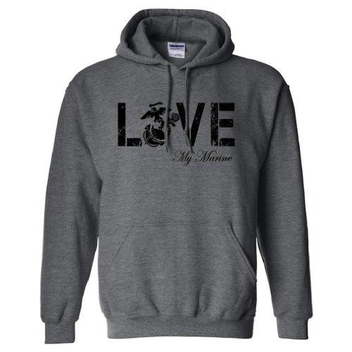 LOVE my Marine Hooded Sweatshirt in Dark Heather - Small