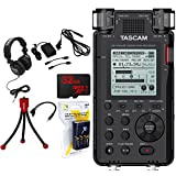 Tascam 192kHz/24bit-Compatible Studio-Quality Linear PCM Recorder w/Bundle +32GB Micro SD Card +AA Charger w/4 2950mah AA Batteries +Flexible Mini Table-top Tripod +Closed-Back Headphones+AC Adapter