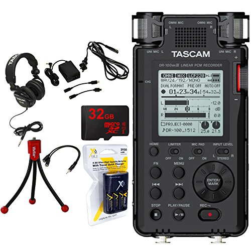 Tascam 192kHz/24bit-Compatible Studio-Quality Linear PCM Recorder w/Bundle +32GB Micro SD Card +AA Charger w/4 2950mah AA Batteries +Flexible Mini Table-top Tripod +Closed-Back Headphones+AC Adapter by Tascam