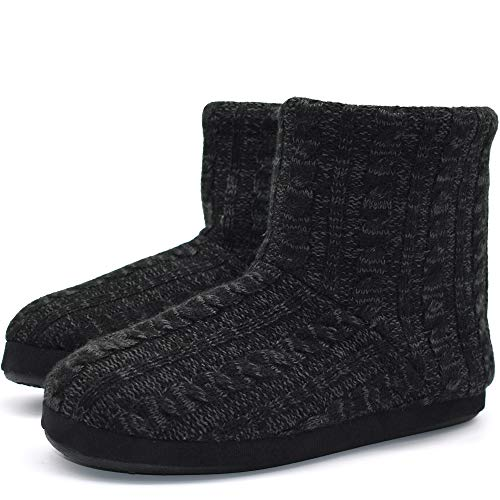 Mens Woolen Knit Slipper Boots Furry Plush Foam Velvet Slip on Ankle Booties Indoor House Bedroom Shoes