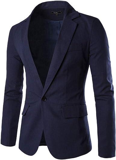 FRAUIT Trajes para Hombre Blazer Casual de Color Sólido para ...
