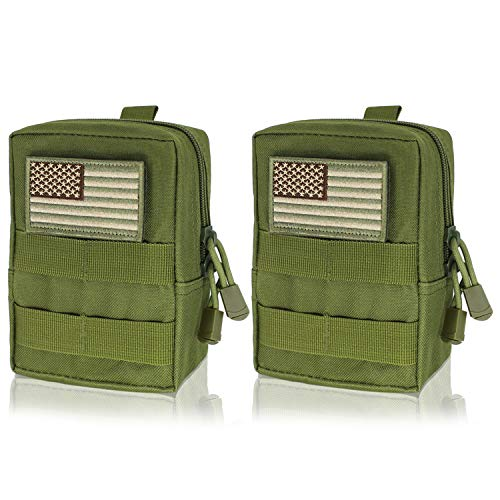 Heycard EDC Pouch 2 Pack Molle Pouch Tactical Pouch Organizer (Green+Patche) (Tac Vest Pouches)