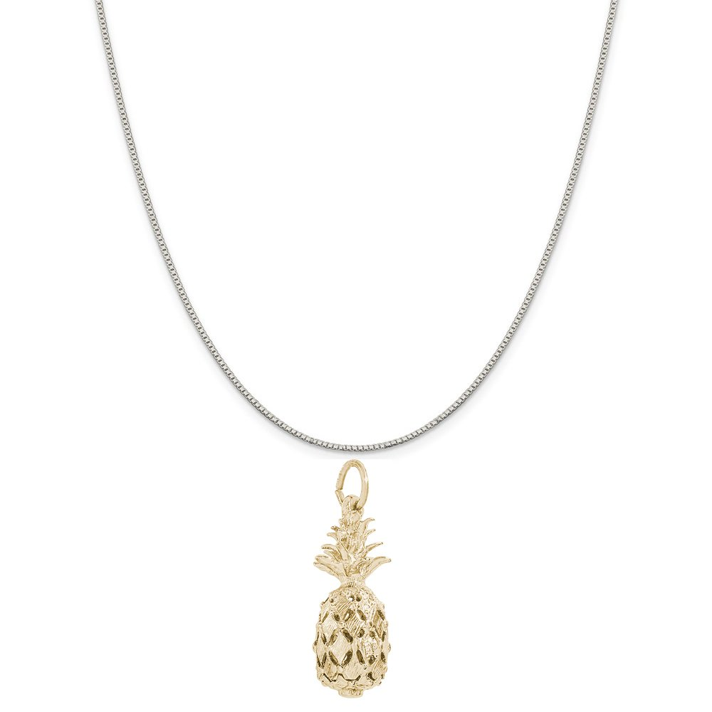 18 or 20 inch Rope Box or Curb Chain Necklace Rembrandt Charms Two-Tone Sterling Silver Hawaiian Pineapple Charm on a Sterling Silver 16