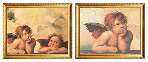 - Raphael Winged Cherubs On Elbows Little Angel of Sistine Madonna Religious Wall Decor Golden Framed Two Set 8x10 Art Print Poster Picture