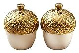 Kate Aspen Gold Dipped Ceramic Acorn Salt and Pepper Shakers White/Gold