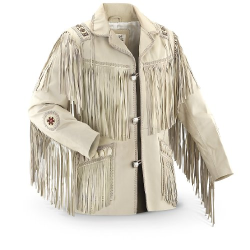 Scully Men's Fringed Suede Leather Coat Tall Cream 44 R by Scully