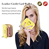 Leather Credit Card Wallet With Zipper Travel Wallet Credit Card Holder, Cute Wallets For Girls Women (yellow)