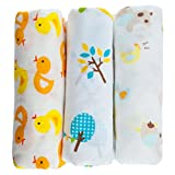 "Snuggie Buggies Organic Muslin Cotton Baby Swaddle Blankets, 47""x47"" (3 Pack) – Bright Colors and Animals Collection"