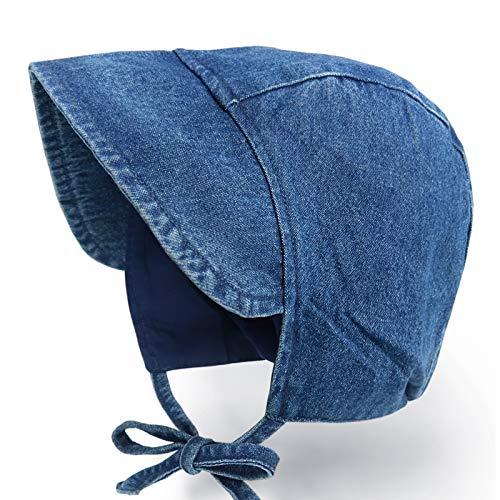 Happy Tree Baby Hat Denim Bonnet Sun Hat 100% Cotton Outdoor Infant Boys Girls Toddler Vintage Style Beanie Cap, Denim_M