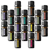 Essential Oils for Inflammation Onepure Aromatherapy Essential Oils Gift Set, 16 Bottles/ 5ml each, 100% Pure & Therapeutic Grade ( Ylang Eucalyptus Lemon Peppermint Lavender Lemongrass Clary Sage Rosemary and More)