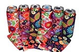 QualityPerfection - 6 Slim Can Cooler Sleeve - Beer Skinny 12 oz Neoprene Coolie - Perfect For 12 oz Slim Red Bull, Michelob Ultra, Spiked Seltzer,Truly,White Claw (6, Flowers)