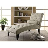 Monarch Specialties Vintage French Fabric Chaise Lounger
