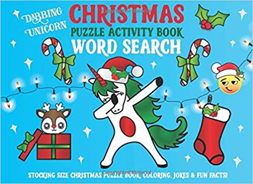 Christmas Fun Facts.Dabbing Unicorn Christmas Word Search Puzzle Activity Book