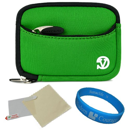 Digital Exilim Pouch Camera Case - VanGoddy Mini Glove Sleeve Pouch Case for Casio Exilim EX-Series Digital Cameras + Screen Protector (Green)