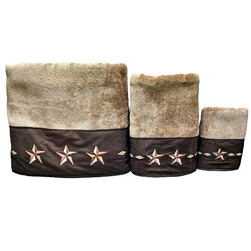 Star Bath Set - HiEnd Accents Embroidered Star Western Towel Set, Brown