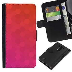 All Phone Most Case / Oferta Especial Cáscara Funda de cuero Monedero Cubierta de proteccion Caso / Wallet Case for LG G3 // Polygon Pink Purple Pattern Orange