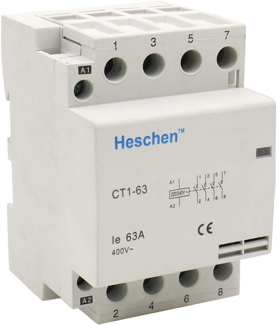 Heschen Contactor de CA del hogar CT1-63 4 polos cuatro normalmente abiertos 220V/230V Voltaje de la bobina 35 mm Montaje en riel DIN