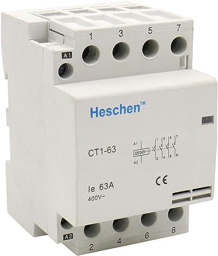 Heschen CT1-63 Contactor de aire acondicionado 2 polos, 220 V//230 V, 35 mm, DIN