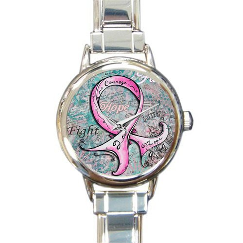 Personalized Watch Breast Cancer Awareness Pink Ribbon Round Italian Charm stainless steel Watch