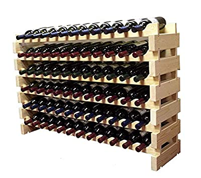 Stackable Modular Wine Rack Stackable Storage Stand Display Shelves, Wobble-Free, Pine Wood,